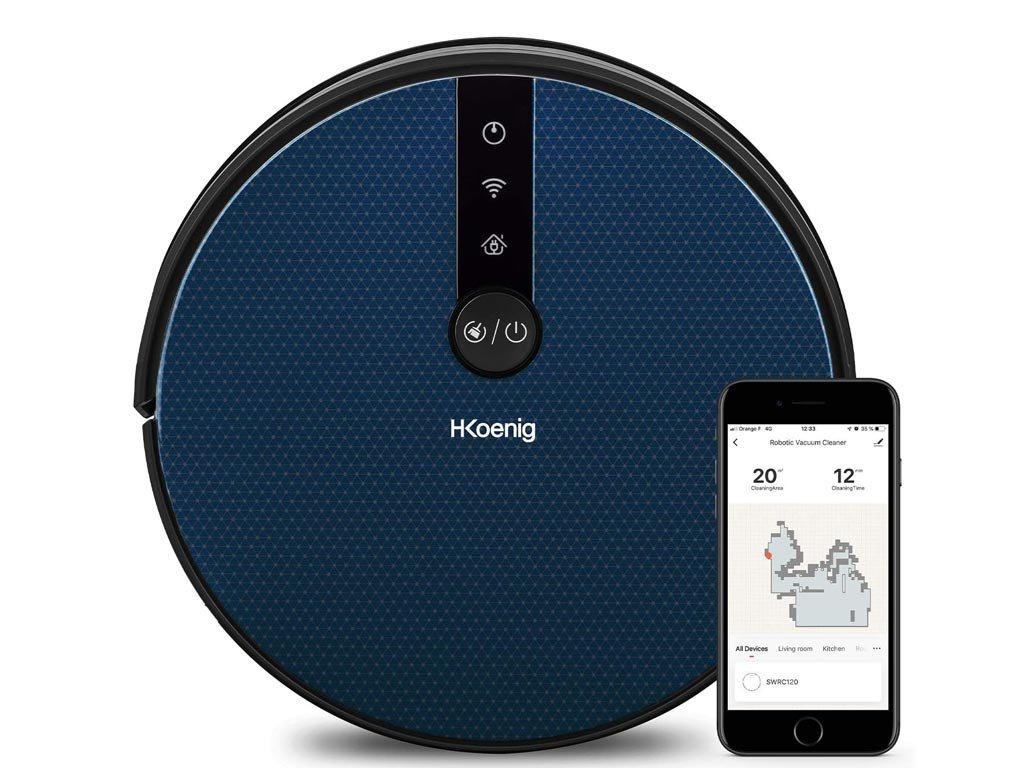 HKoenig Σκούπα Ρομπότ Smart με Wi-Fi και Λειτουργία Σφουγγαρίσματος SWRC120 και σύνδεση με Alexa-Google Home
