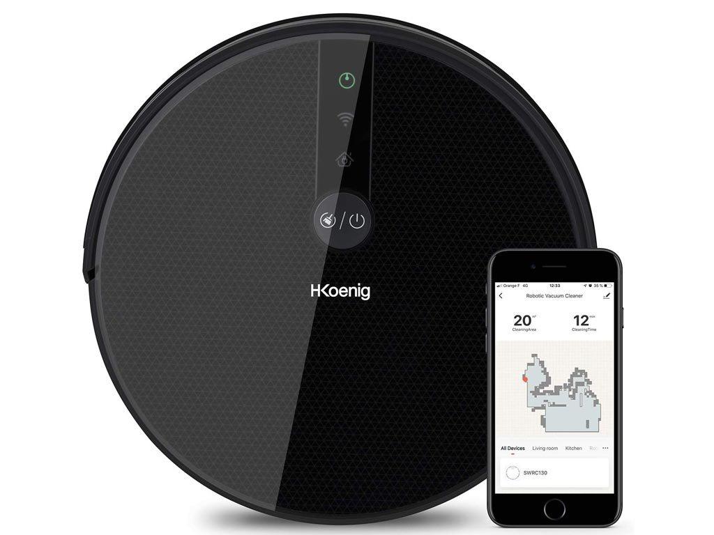 H.Koenig Ηλεκτρική Αυτόνομη Σκούπα Σφουγγαρίστρα Ρομπότ Gyro+ με HEPA φίλτρο και Wi-fi, SWRC130