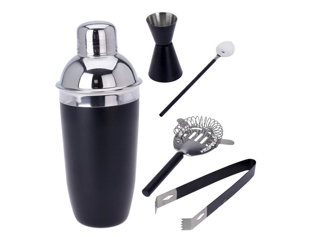 Σετ Κοκτέιλ Cocktail για Παρασκευή και Σερβίρισμα Ποτών 5 τεμ από Ανοξείδωτο ατσάλι σε μαύρο χρώμα