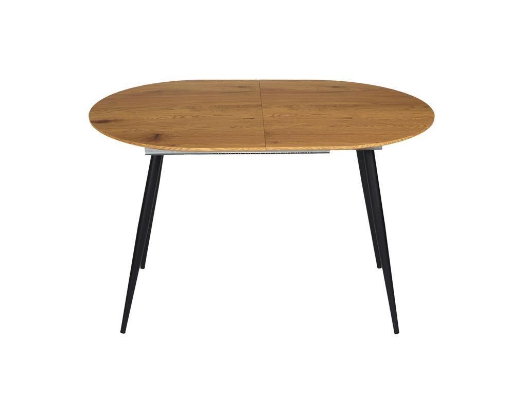Ξύλινο Επεκτεινόμενο Τραπέζι με μεταλλική βάση, 120-160x80x76 cm, Dining table
