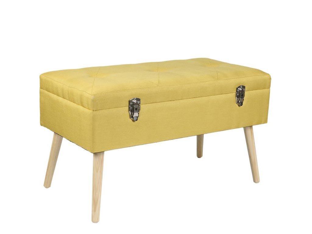 Σκαμπό με αποθηκευτικό χώρο σε μουσταρδί χρώμα, τύπου μπαούλο, 46x40x78 cm
