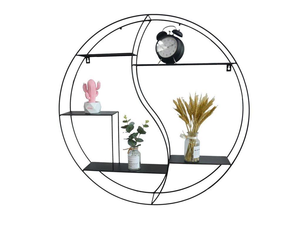 Μεταλλική Επιτοίχια Ραφιέρα σε κυκλικό σχήμα με μεταλλικά ραφάκια, διαμέτρου 80cm
