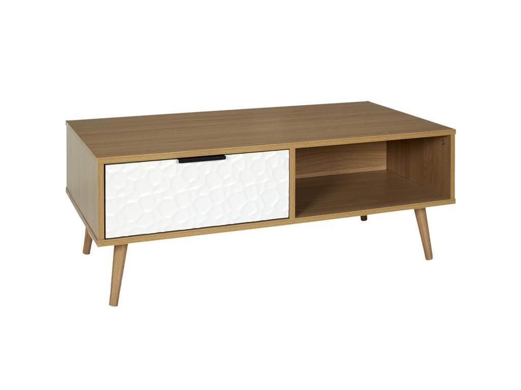 Ξύλινο Τραπέζι Σαλονιού με συρτάρι σε λευκό χρώμα, 100x50x38 cm, Low Side table