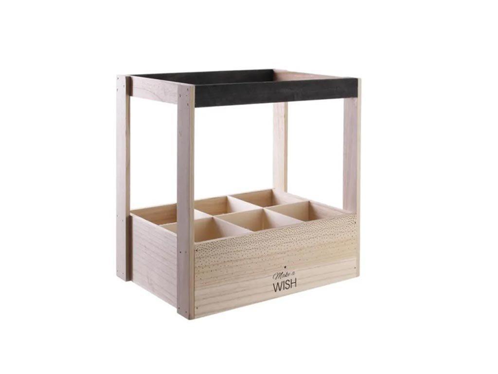 Ξύλινη Μπουκαλοθήκη Κάβα κρασιών 6 θέσεων, σε 2 σχέδια, 30x20x31 cm Make a Wish