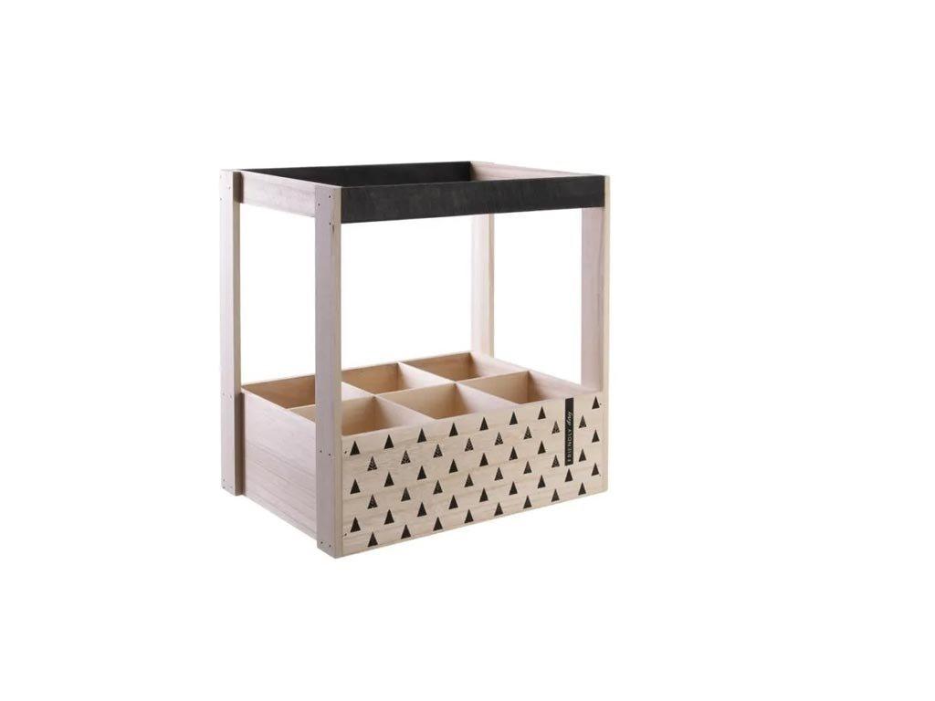 Ξύλινη Μπουκαλοθήκη Κάβα κρασιών 6 θέσεων, σε 2 σχέδια, 30x20x31 cm Τρίγωνα