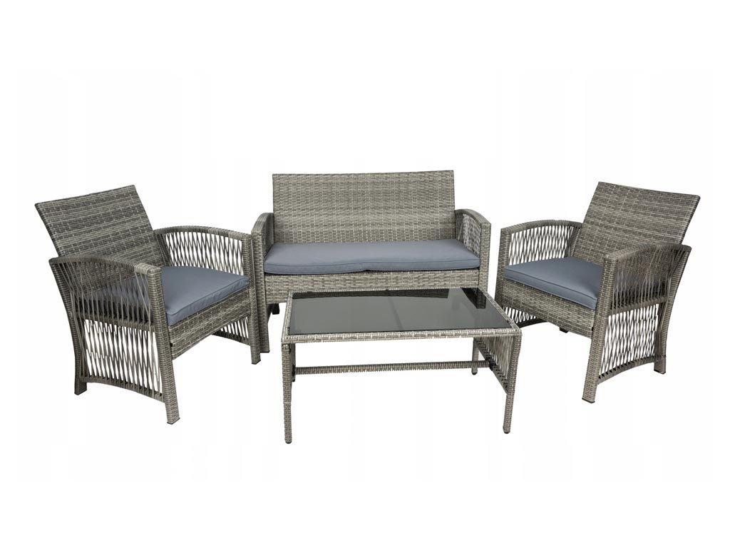 Σετ Έπιπλα Κήπου και Βεράντας 4 τεμ από Ρατάν σε γκρι χρώμα, Rattan Furniture Set