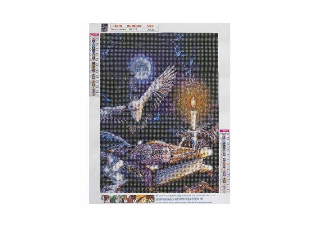 Ψηφιδωτό Μωσαικό με ψηφίδες τύπου διαμάντια και σχέδιο Κουκουβάγια, 30x40 cm, Mosaic Art Kit