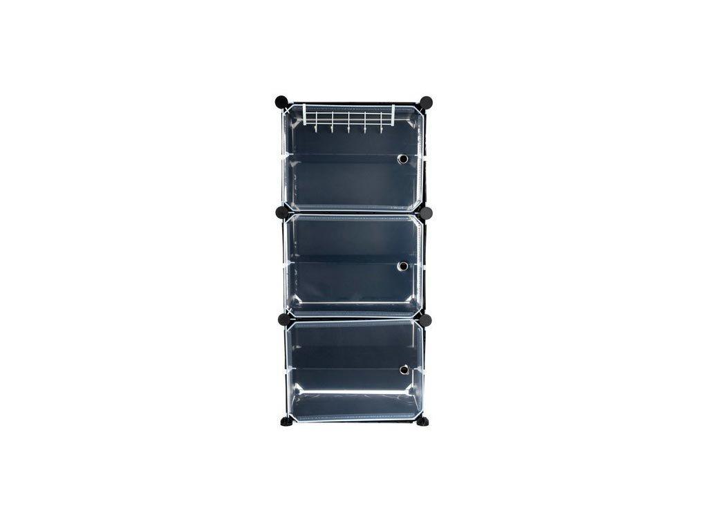 Παπουτσοθήκη με 3 ράφια και κρεμάστρα για αποθήκευση παπουτσιών, σε Μαύρο Χρώμα, 30x11.5x93cm