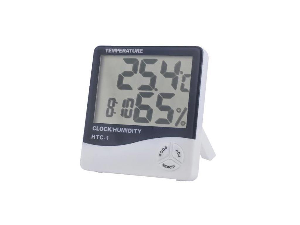 Ρολόι Ξυπνητήρι Θερμόμετρο και Μετρητής Υγρασίας με μεγάλη οθόνη και λειτουργία μνήμης, 9x2x10cm