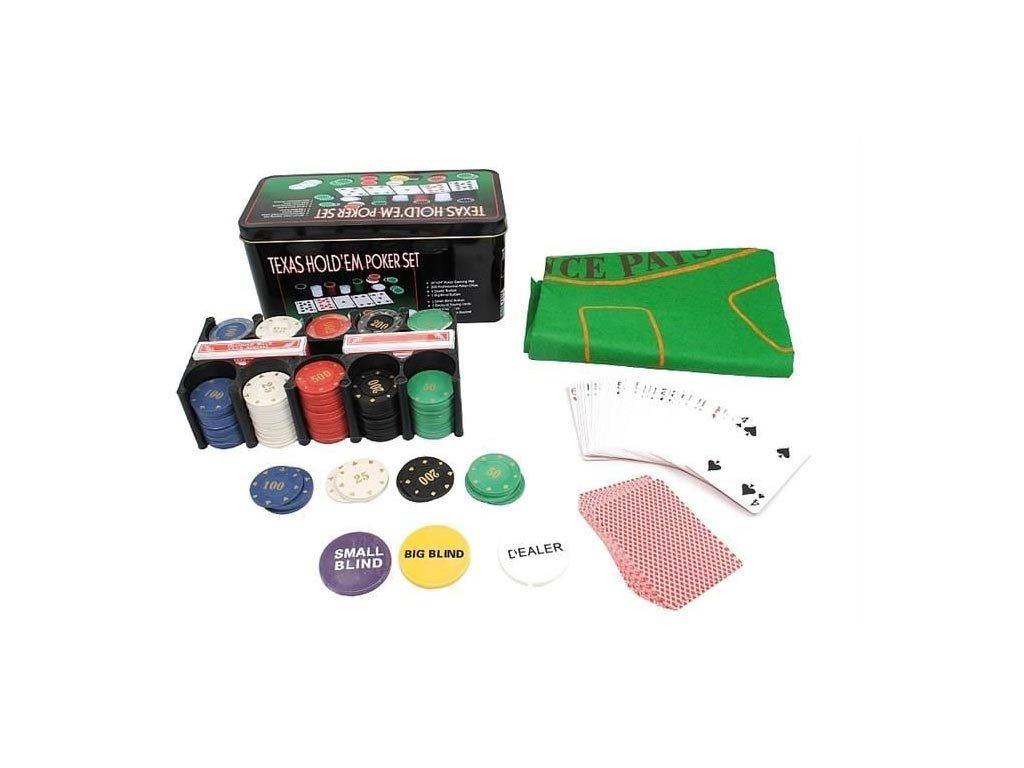 Σετ ποκέρ σε μεταλλικό κουτί με 200 Μάρκες Casino, 2 Τράπουλες και τσόχα, Poker texas game set