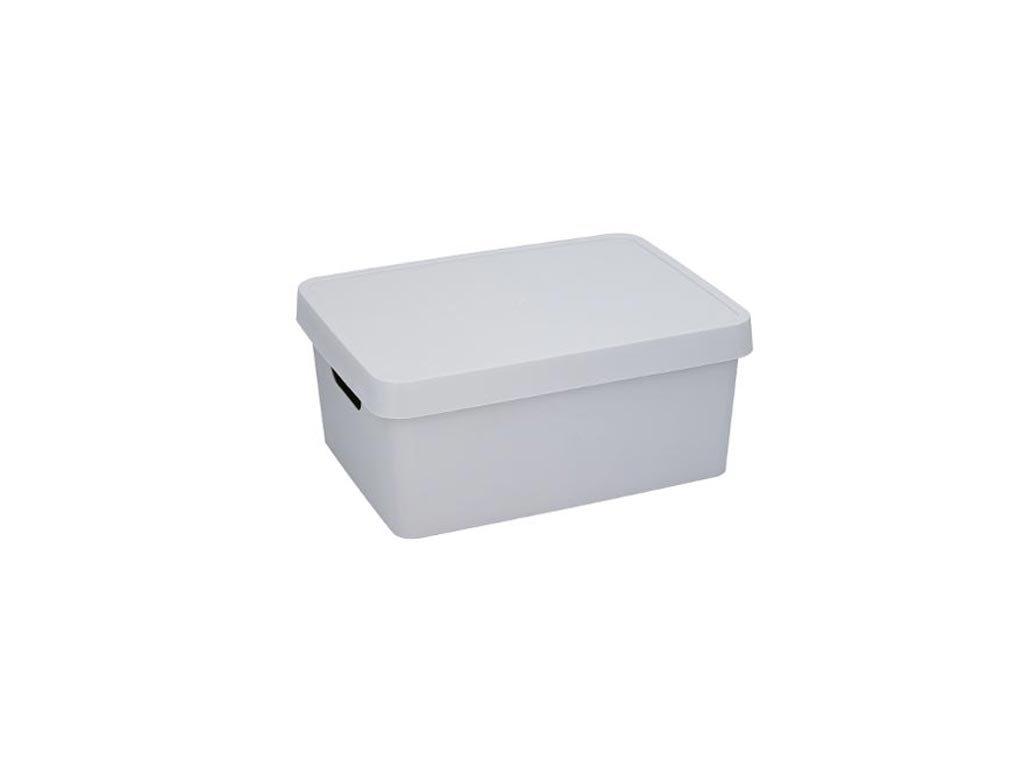 Κουτί Αποθήκευσης Πλαστικό χωρητικότητας 11Lt με λαβές και καπάκι, 13.8x27.7x37 cm Γκρι