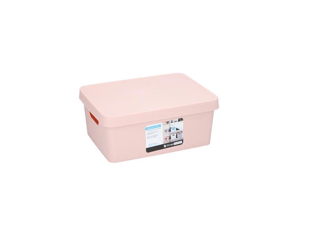 Κουτί Αποθήκευσης Πλαστικό χωρητικότητας 11Lt με λαβές και καπάκι, 13.8x27.7x37 cm Ροζ
