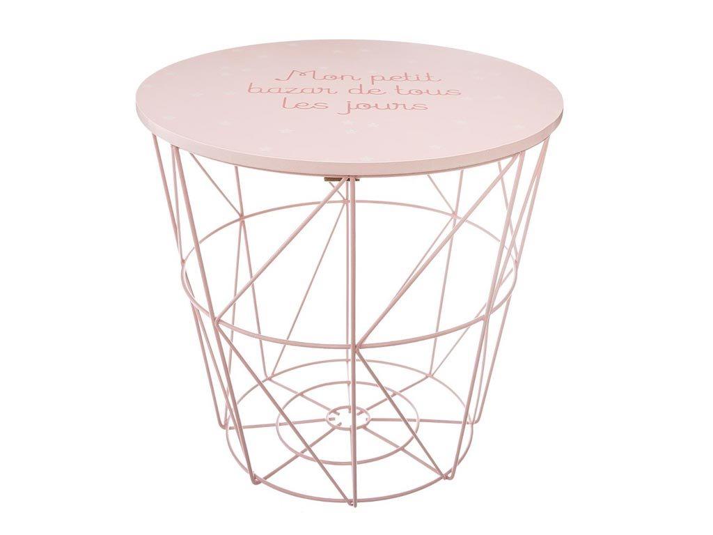 Στρογγυλό Τραπεζάκι Σαλονιού σε σχήμα καλαθιού σε ροζ χρώμα, 30x30 cm, Side table