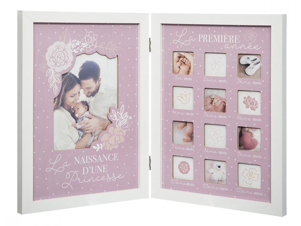 Ξύλινο Βρεφικό άλμπουμ για 13 φωτογραφίες σε ροζ χρώμα, 47.5x2x32.5 cm, Baby photo album