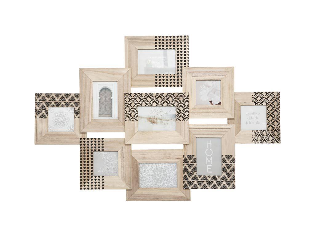 Ξύλινη Πολυκορνίζα Κορνίζα Τοίχου για 9 φωτογραφίες, 90x5x61 cm, Wooden frame