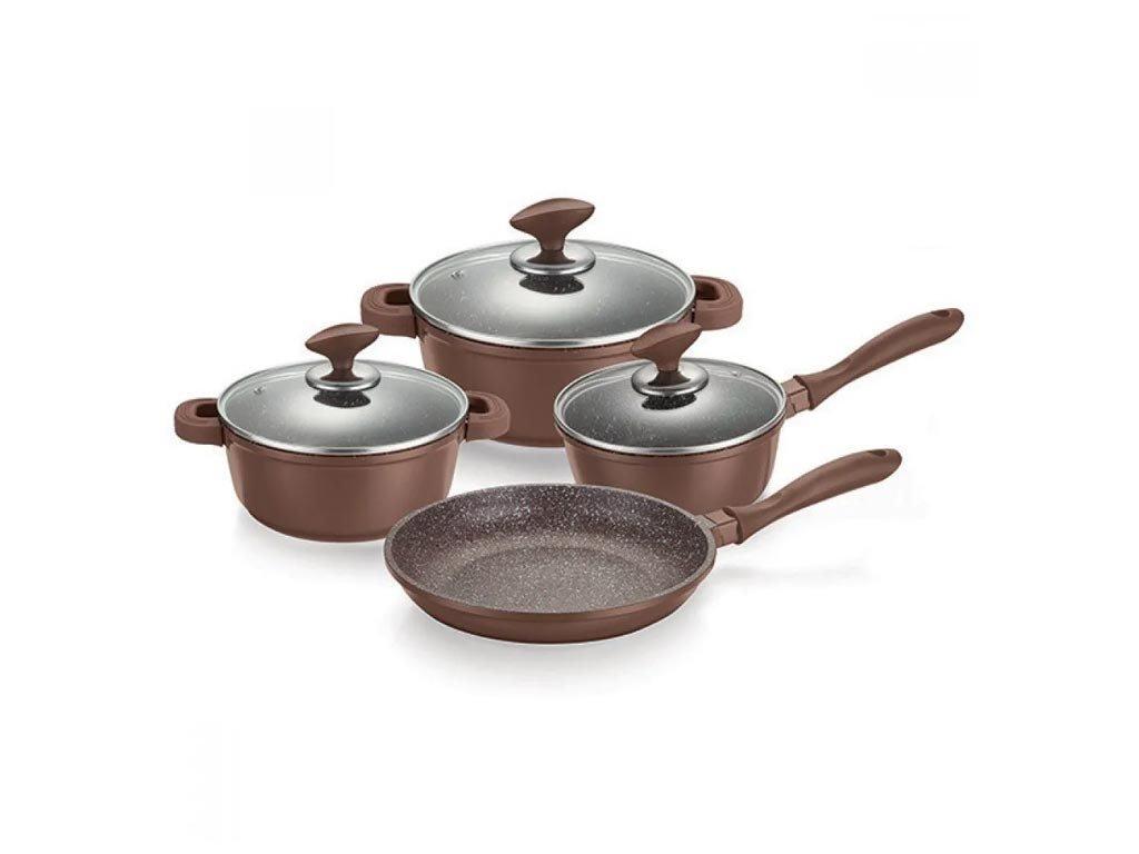 Σετ Μαγειρικά Σκεύη με γυάλινα καπάκια 7 τεμαχίων σε καφέ χρώμα, Muhler MR-7049