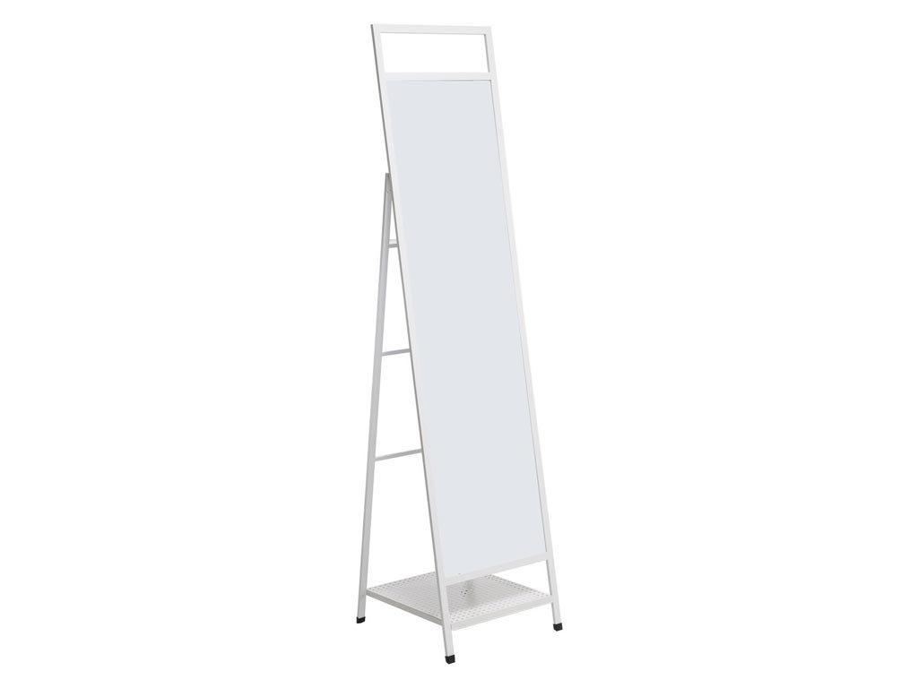 Μεταλλικός Ολόσωμος Καθρέφτης Δαπέδου με ράφι σε Λευκό χρώμα, 38.5x33x160cm
