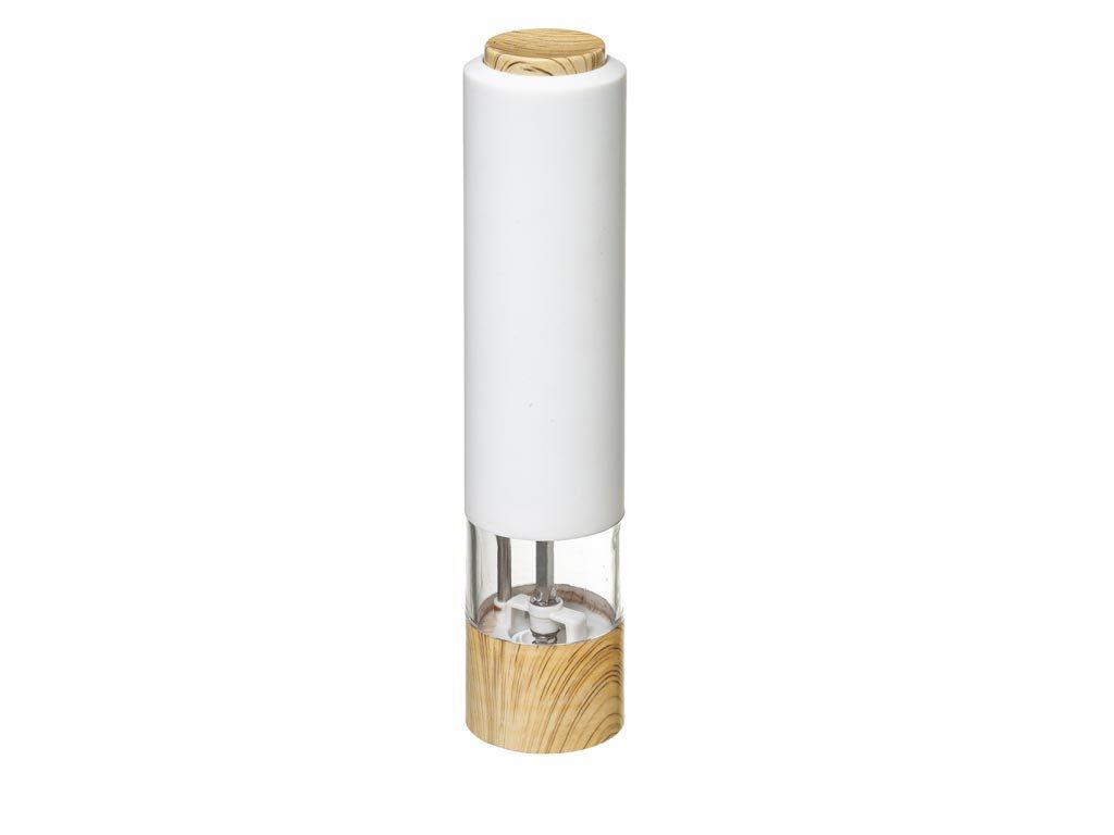 Ηλεκτρικός Μύλος Πιπεριού σε Λευκό χρώμα με ξύλινη λεπτομέρεια, 5.5X22.3 cm