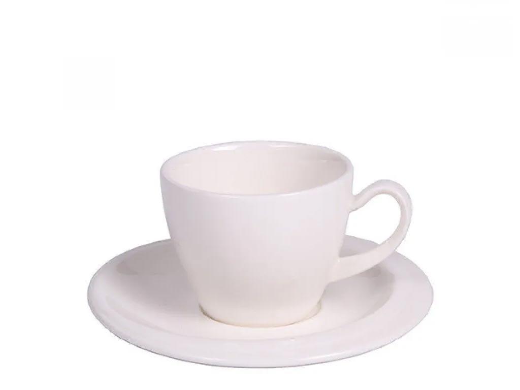 Luigi Ferrero Φλυτζάνι Καφέ με Πιατάκι από πορσελάνη χωρητικότητας 100 ml σε Λευκό χρώμα, Anika