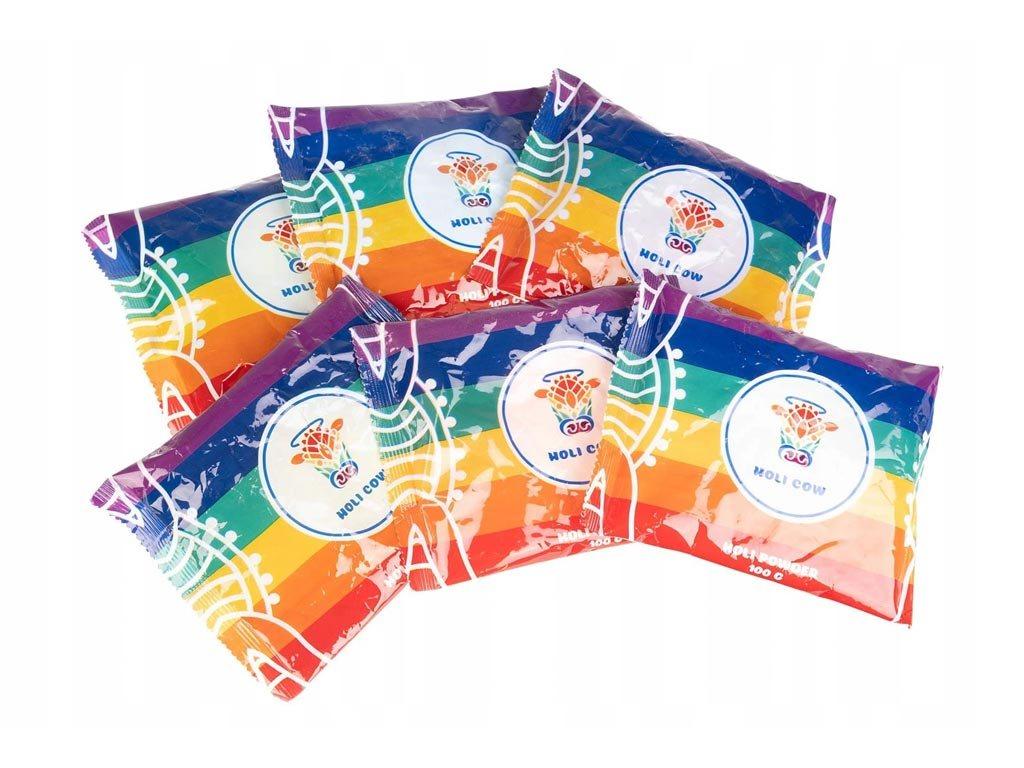Σετ Χρωματιστή σκόνη 6 τεμ σε διάφορα χρώματα για πάρτυ και εκδηλώσεις, Holi cow