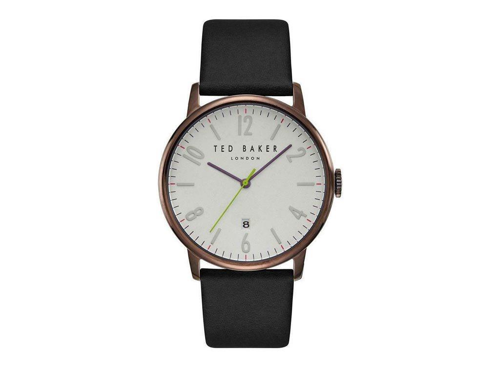 Ted Baker Ανδρικό Ρολόι χειρός, 41mm, με δερμάτινο λουράκι και λευκό Καντράν, TE15067003