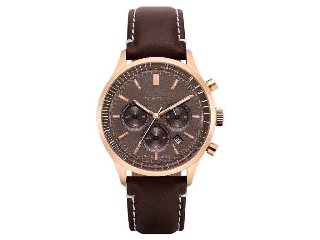 Gant Bronwood Ανδρικό Ρολόι χειρός 42mm με δερμάτινο λουράκι σε καφέ χρώμα, GT080001