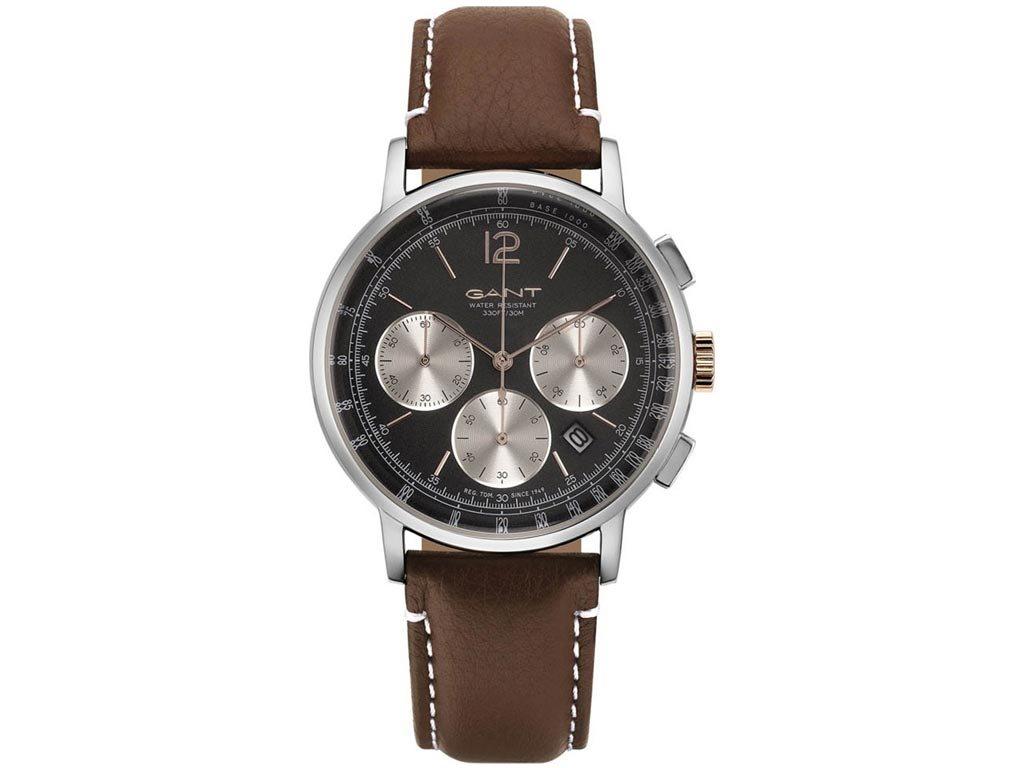 Gant Wilmer Ανδρικό Ρολόι χειρός 42mm με δερμάτινο λουράκι σε καφέ χρώμα, GT079006