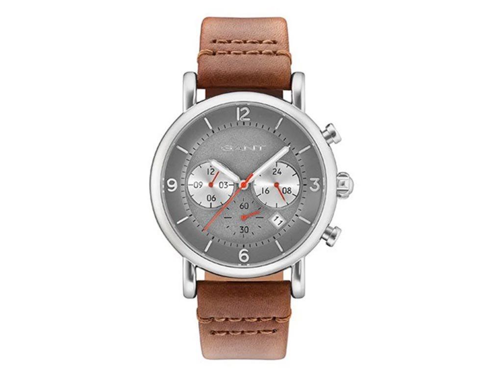 Gant Springfield Ανδρικό Ρολόι χειρός 44mm με δερμάτινο λουράκι σε καφέ χρώμα, GW GT007008