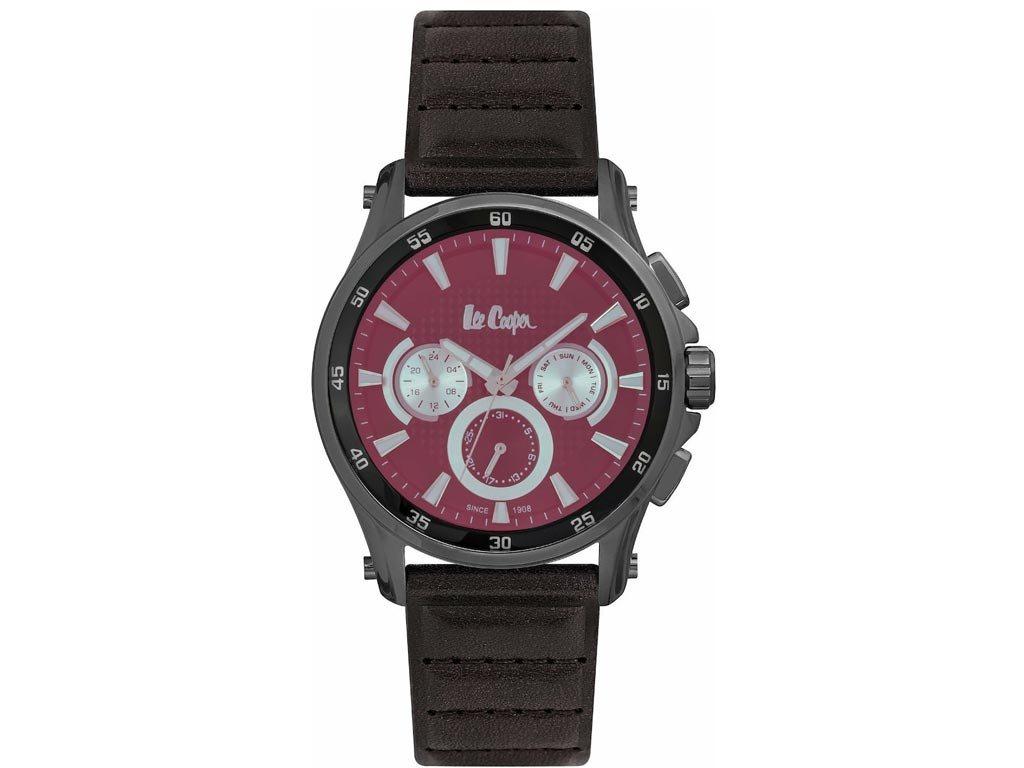 Lee Cooper Ανδρικό Ρολόι χειρός 45mm με δερμάτινο λουράκι και μπορντώ καντράν, LC06540.052