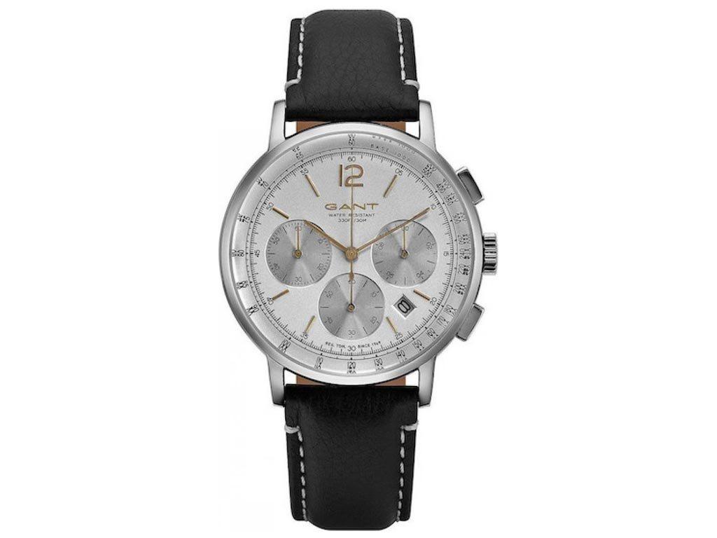 Gant Wilmer Ανδρικό Ρολόι χειρός 43mm με δερμάτινο λουράκι σε μαύρο χρώμα, GT079002