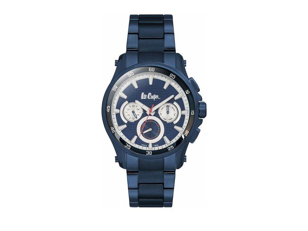 Lee Cooper Ανδρικό Ρολόι χειρός 44mm με  μπρασελέ και μπλε σκούρο καντράν, LC06538.990