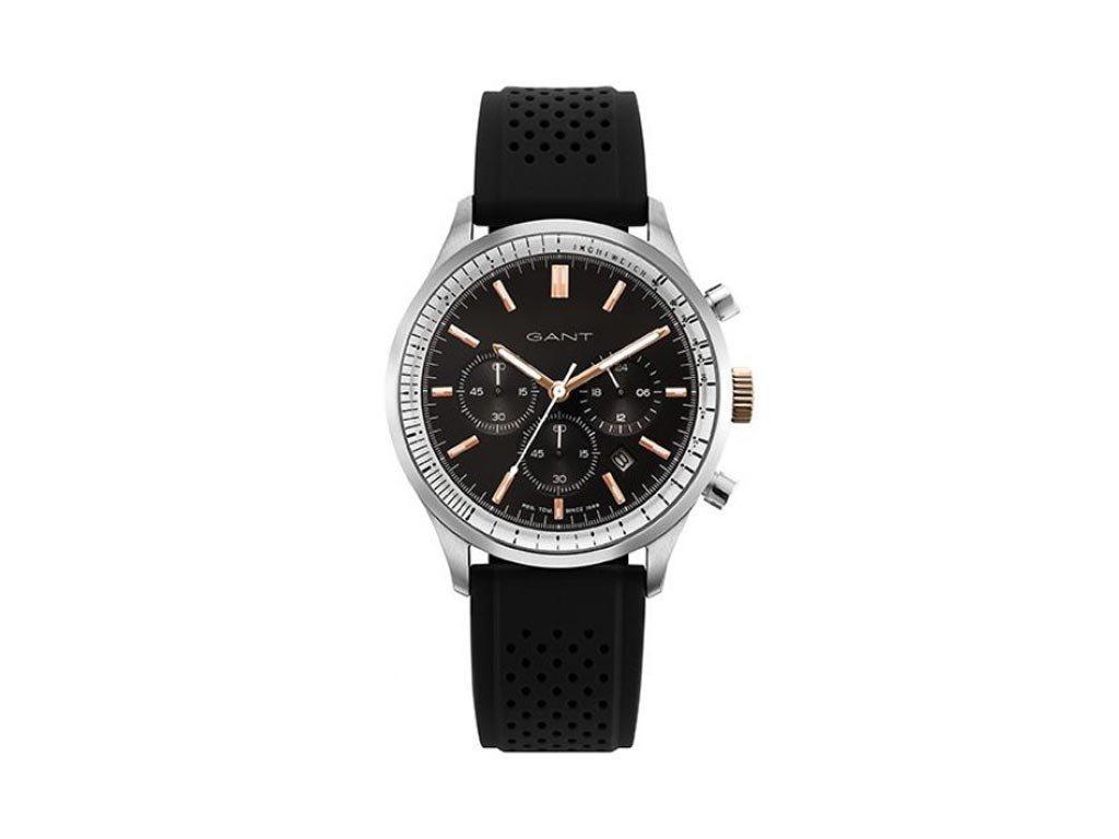 Gant Bronwood Ανδρικό Ρολόι χειρός 43mm με λουράκι από καουτσούκ σε μαύρο χρώμα, GT080009