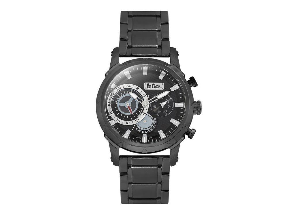 Lee Cooper Ανδρικό Ρολόι χειρός 47mm με μπρασελέ και μαύρο καντράν,  LC06519.050