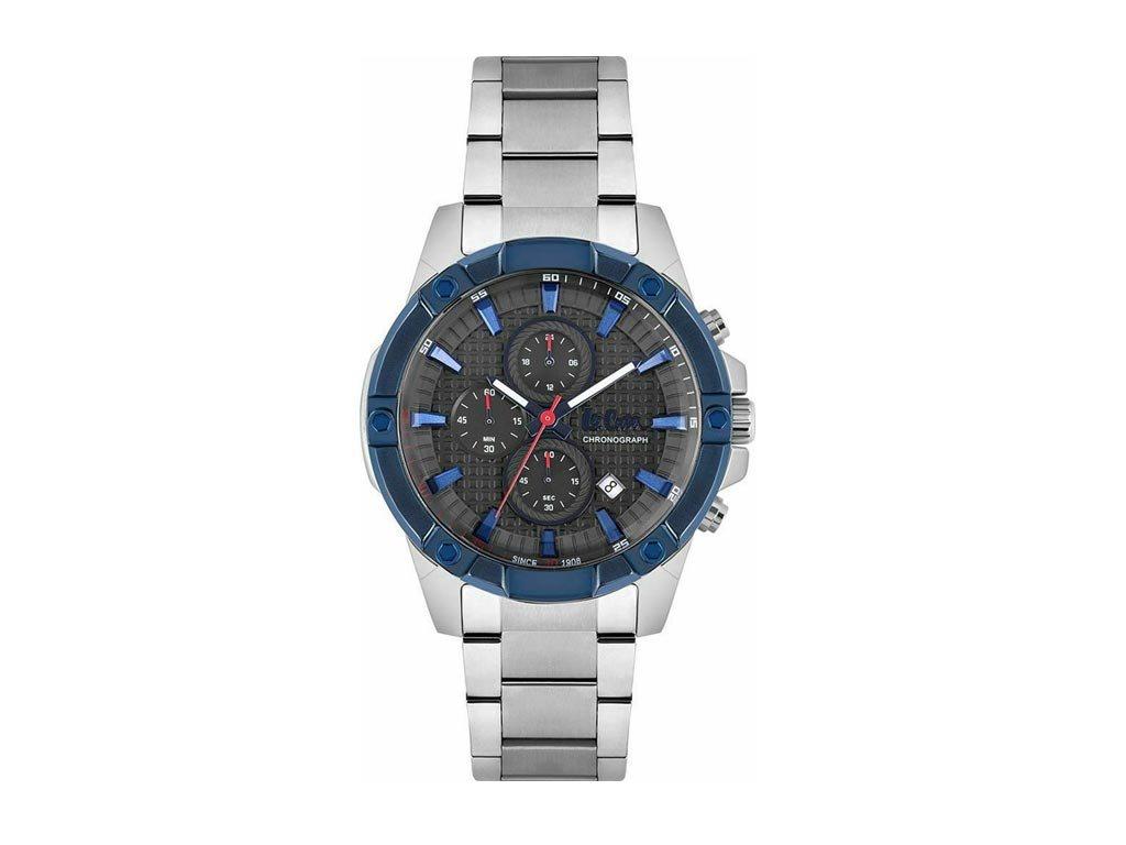 Lee Cooper Ανδρικό Ρολόι χειρός 47mm με μπρασελέ και μαύρο με μπλε στοιχεία καντράν, LC06905.360