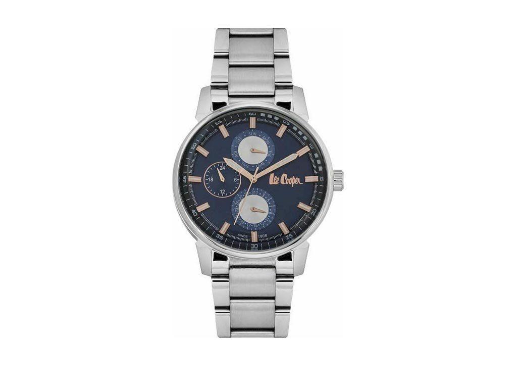 Lee Cooper Ανδρικό Ρολόι χειρός 44mm με μπρασελέ και μπλε σκούρο καντράν, LC06581.390