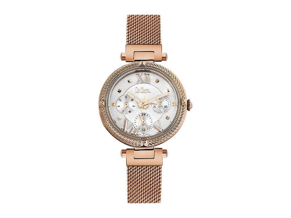 Lee Cooper Γυναικείο Ρολόι χειρός 34mm με ροζ χρυσό μπρασελέ, LC06517.420