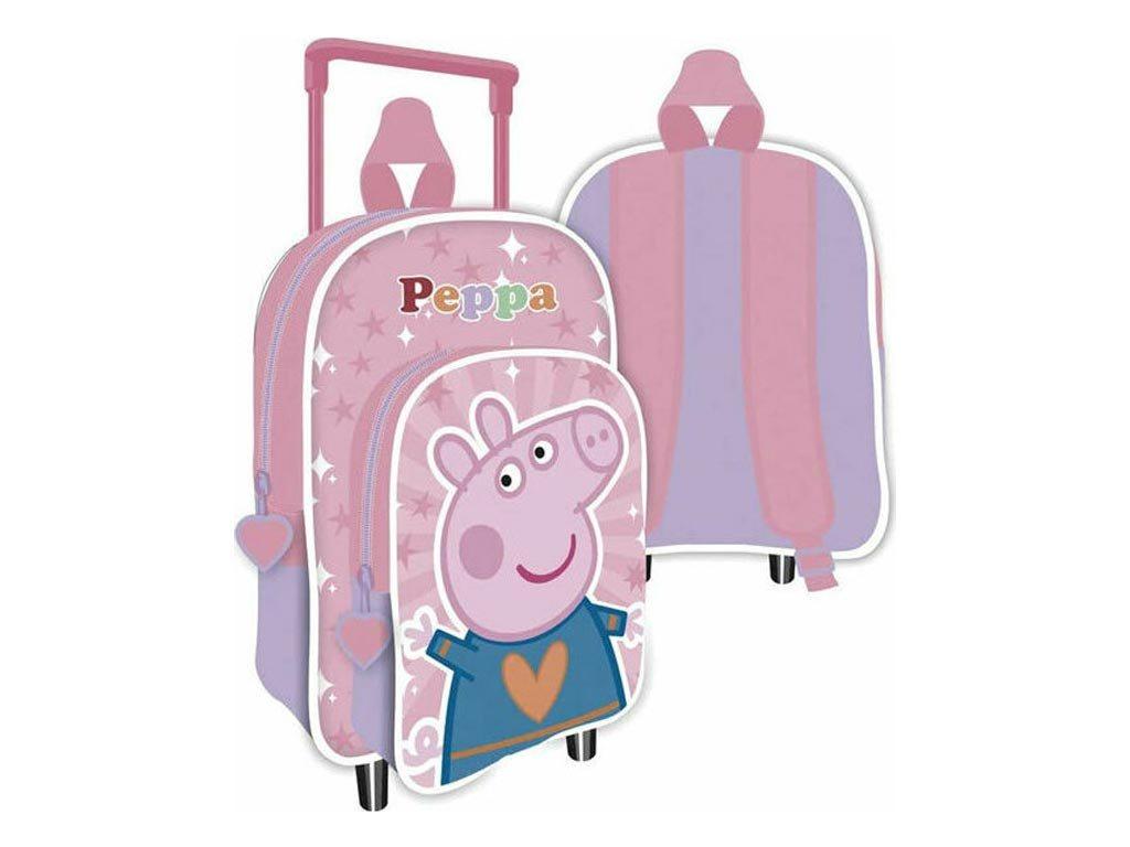 Disney Σχολική Τσάντα Τρόλεϊ Σακίδιο Πλάτης Νηπιαγωγείου με θέμα Peppa Pig, 24x36x12 cm, Trolley bag
