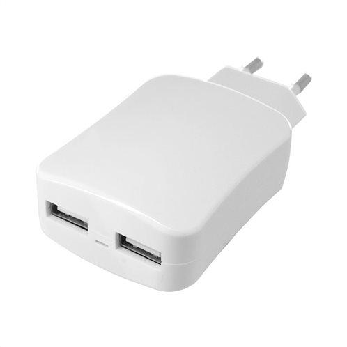 Φορτιστής Ταξιδίου inos με Διπλή Έξοδο USB Λευκό 4.2A
