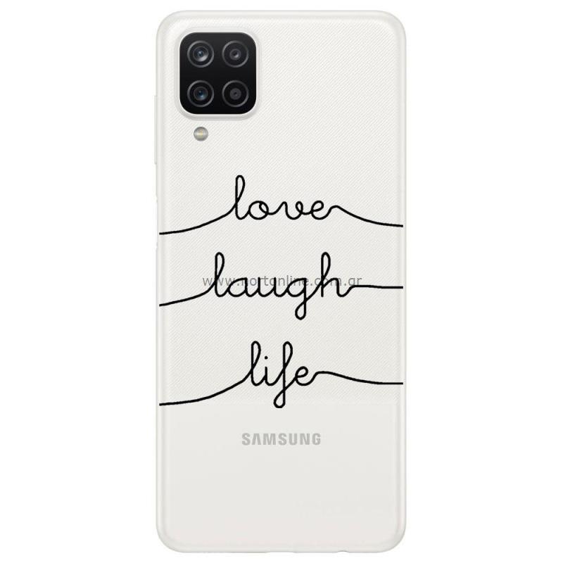 Θήκη TPU inos Samsung A125F Galaxy A12 Art Theme Love-Laugh-Life