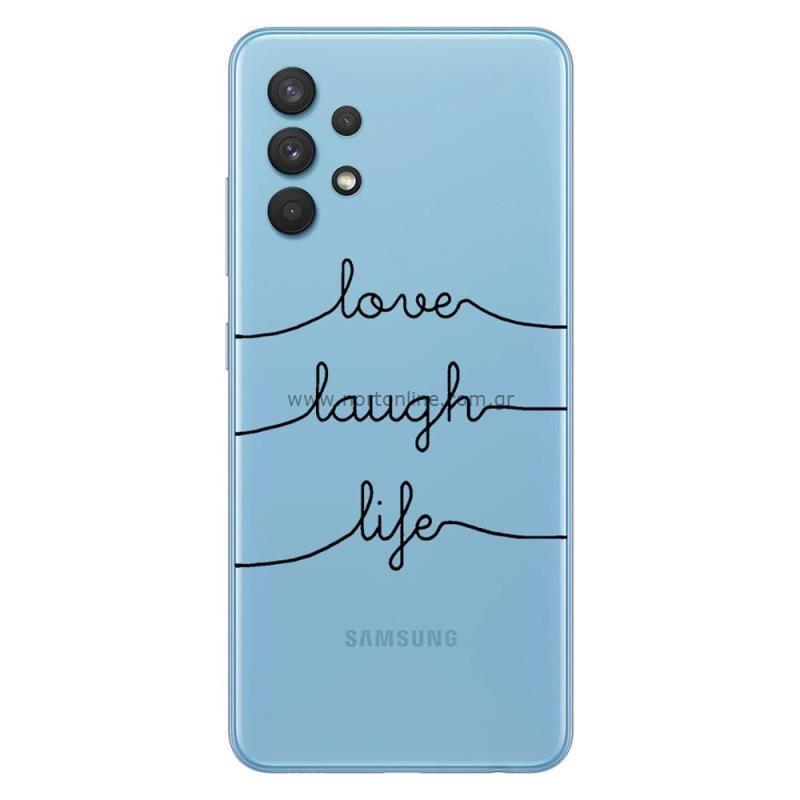 Θήκη TPU inos Samsung A325F Galaxy A32 4G Art Theme Love-Laugh-Life