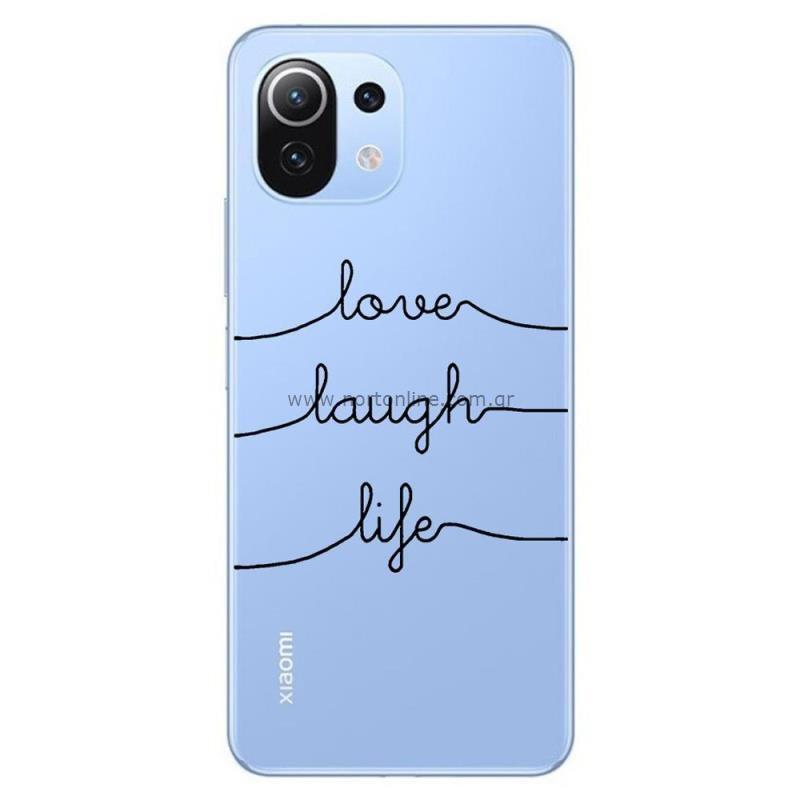 Θήκη TPU inos Xiaomi Mi 11 Lite/ Mi 11 Lite 5G Art Theme Love-Laugh-Life