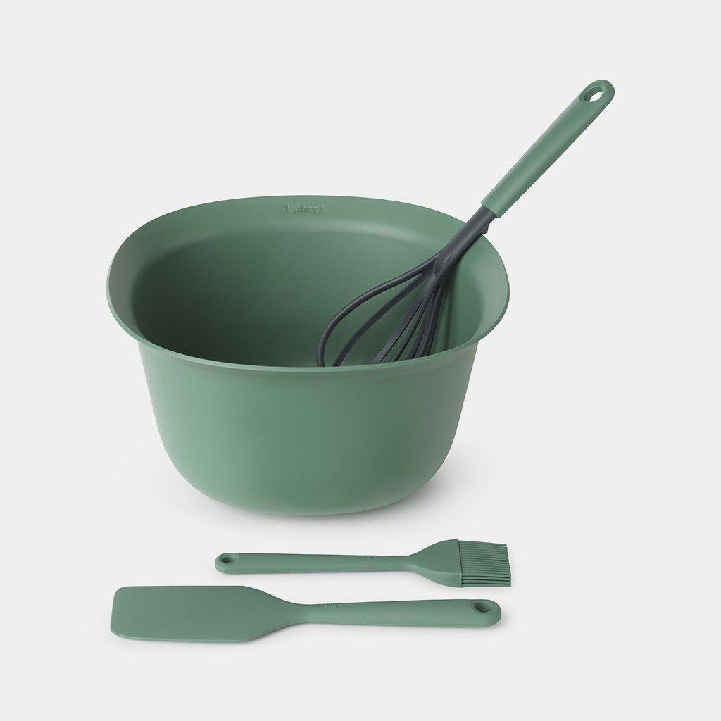 Brabantia Μπολ 3,2lt και Εργαλεία Ζαχαροπλαστικής Σκούρο Πράσινο Tasty - Σετ 4 Τεμαχίων
