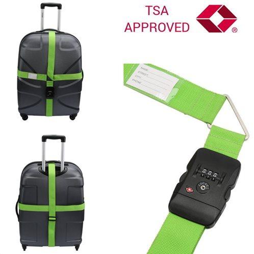 Olympia TSA 400 Διπλός ιμάντας ασφαλείας αποσκευών με συνδυασμό TSA Approved Πράσινος