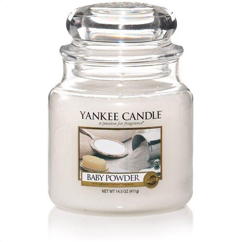 Yankee Candle Αρωματικό Κερί σε Γυάλινο Δοχείο Medium σειρά Baby Powder