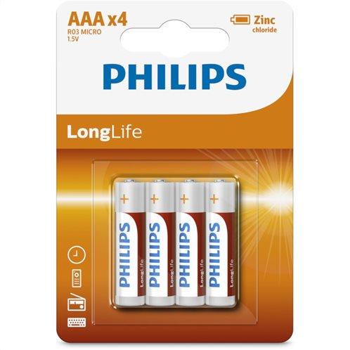 Philips R03L4B/10 Μπαταρίες μεγάλης διάρκειας ζωής Zinc-Chloride 4 τμχ AAA