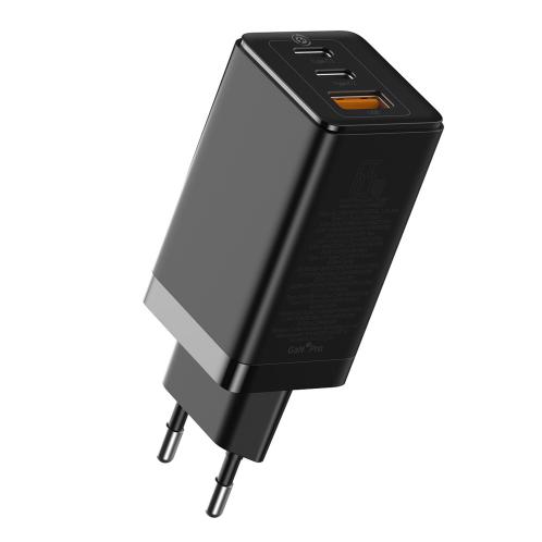 Baseus Travel Charger GaN2 Pro 2xType-C/USB 65W + Cable Type-C 100W 1m Black