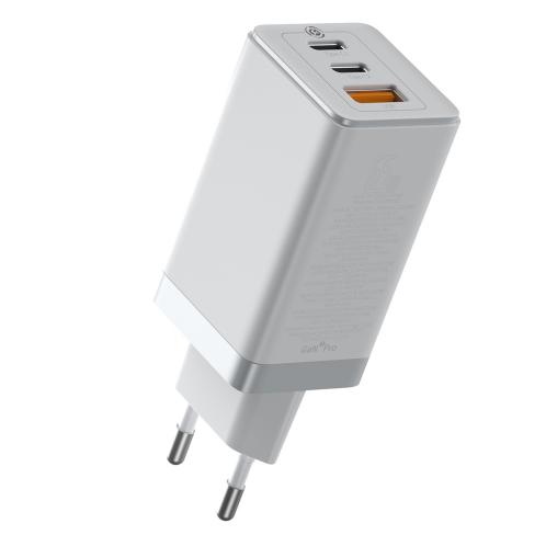 Baseus Travel Charger GaN2 Pro 2xType-C/USB 65W + Cable Type-C 100W 1m White