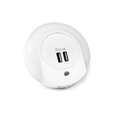 Fos_Me Φωτάκι νυκτός LED 1W / 3000K με 2 θύρες USB & αισθητήρα φωτός 17-00504
