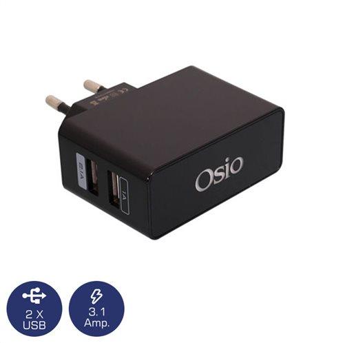 Osio OTU-385B Μαύρο Διπλός φορτιστής ρεύματος με 2 USB και LED 5 V 1000 / 2100 mA