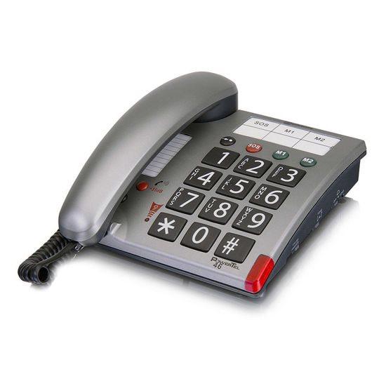 AMPLICOMMS Τηλέφωνο Επιτραπέζιο PowerTel 46 Ασημί